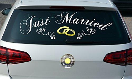Aufkleber Just Married Ringe, jm1001, speziell für die Heckscheibe, Autoaufkleber,...