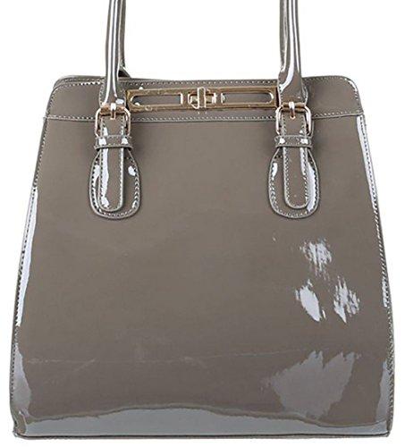MYWY - Borsa donna borsa tracolla borsa manici borsa vernice borsa grande grigio