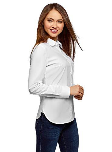 oodji Ultra Donna Camicia Basic in Cotone, Bianco, IT 46 / EU 42 / L