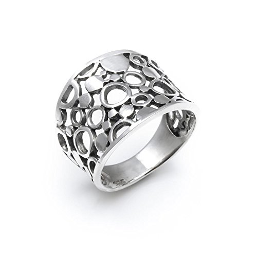 Silverly Frauen 925 Sterling Silber Breite Filigrane Circles Band - Silber Breites Band-ringe