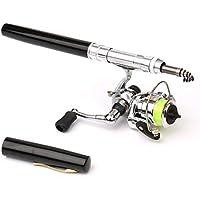 Delicacydex Mini bolígrafo portátil Tipo caña de Pescar caña de Pescar telescópica con Carrete de Pesca al Aire Libre Accesorios de Aparejos de Pesca - Negro
