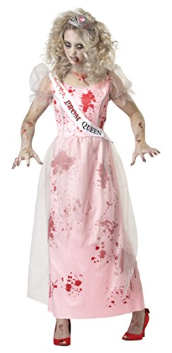 California Customes Zombie Prom-Queen Halloween-Damenkostüm rosa-rot-Weiss ()