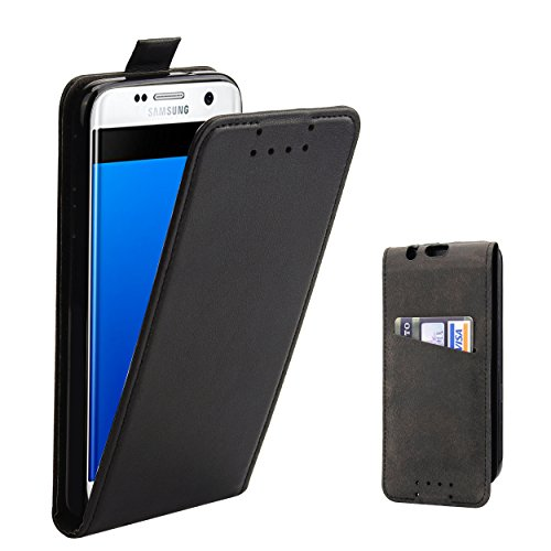 Galleria fotografica Custodia Galaxy S7 Edge - SUPAD® Ultra sottile Custodia Flip Case In Pelle per Samsung Galaxy S7 Edge (Nero)