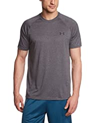Under Armour UA Tech SS Tee, Camiseta De Fitness Para Hombre, Gris (Carbon Heather/Black), L