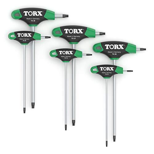 TORX® 79849 Schraubendreher Set 2K mit T-Griff 6tlg. T10-T30 | Made in Germany | Torxschlüsselsatz | Schraubenschlüssel | T10 | T15 | T20 | T25 | T27 | T30 | TX | für Torx Schrauben