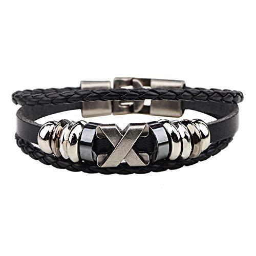 Retro Armband Mit Edelstahl Armaturen Armbänder Armbänder X Buchstaben Handketten Mädchen Schmuck Zubehör Liebe Geschenk (Color : Black, Size : 17.5CM)