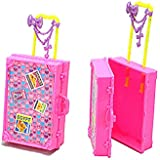 Glareshop Plastic Travel Box for Barbie Doll DIY Children Kids Pretend Play Furniture Toys