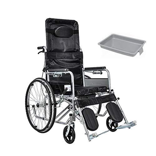 HuLiKing Toilettenstuhl, Faltbarer Rollstuhl-älterer mobiler Flacher Lage-Toilettensitz-wasserdichter Duschstuhl mit Pedal und Handbremse - Mobiler Duschstuhl