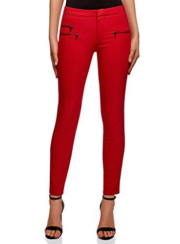 oodji Ultra Damen Hose Slim Fit mit Zierreißverschlüssen, Rot, DE 40 / EU 42 / L - Knöchel Hose