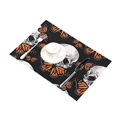 Reopx Angst glücklich Halloween schädel küche gedruckt fleckresistent wärmedämmung waschbar quadratisch tischset tischset für Baby und Frauen runder esstisch 12