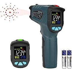Hanmer Thermomètre infrarouge Pistolet de température à infrarouge laser numérique sans contact pour la cuisson de la viande Cuisine BBQ Thermostat industriel avec rétroéclairage LCD(-58℉-1022℉)