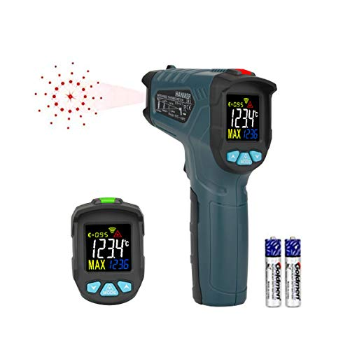 Infrared Thermometer, Hanmer Laser grip Tempe Gun -58 ℉ ~ 716 ℉ (-50 ℃ ~ 380℃) Non Contact Dual Laser Digital Thermometer with Adjustable Emissivity, Max/Min Data Hold, Battery Monitoring