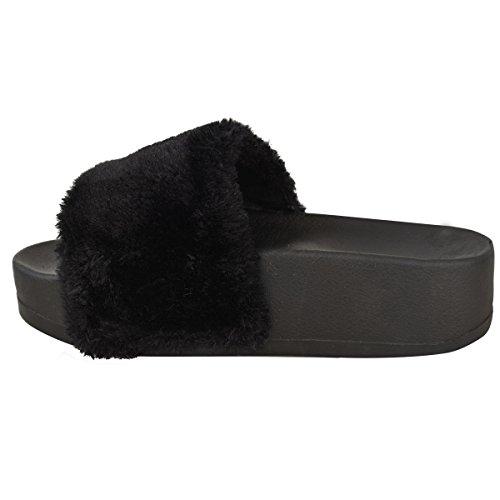 Claquettes à semelle plateforme - bride en fausse fourrure douce - femme Noir/fausse fourrure