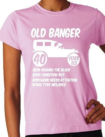 POKEMING Women's Old Banger 40th Birthday Present T-Shirt