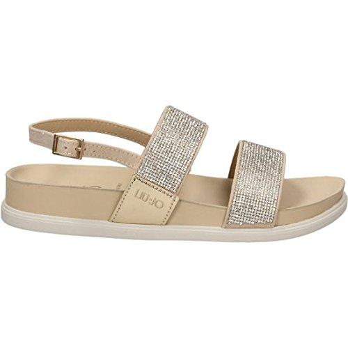 LIU JO sandales plates de la femme S17071 T9245 SANDALO FOOTBED NAO NOIR Ghiaccio