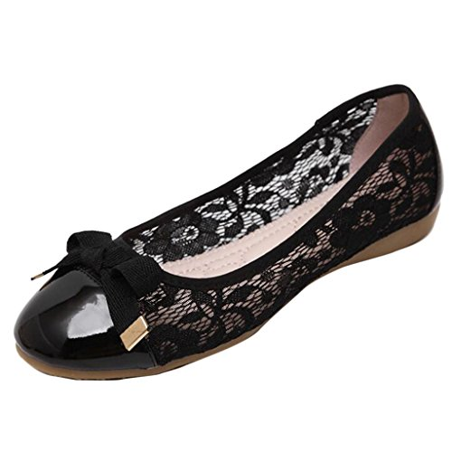 Binying Ballerine da Donna in Vernice Colorate Nero