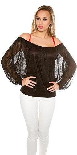 Damen Top Bluse Shirt Ciffon Oberteil Carmen Ausschnitt Langarm Tunika Schwarz Schwarz