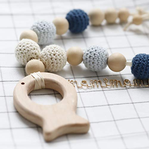 Mamimami Home Baby Holz Kinderkrankheiten Halskette Fisch Tier geformt häkeln Perlen für das Stillen und Baby mit Dusche Geschenk