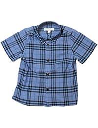 5aa8d9ed7e57a Burberry Camicia Cotone Manica Corta con Motivo Tartan Blu (8004933)