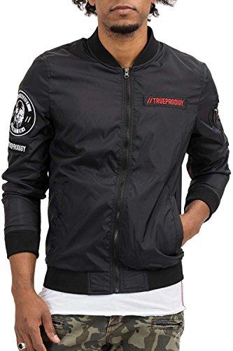 trueprodigy Casual Hombre marca Chaqueta Bombar motivo ropa retro vintage rock vestir moda Militar deportivo slim fit designer cool urban fashion jacket aviador color negro 3573105-2999-M
