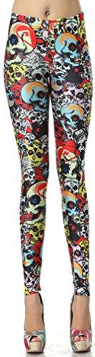 Thenice Leggings extensible Femme Impression numérique - Colorful skull