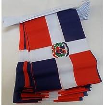 AZ FLAG Guirnalda 6 Metros 20 Banderas de la REPÚBLICA Dominicana 21x15cm - Bandera Dominicana 15