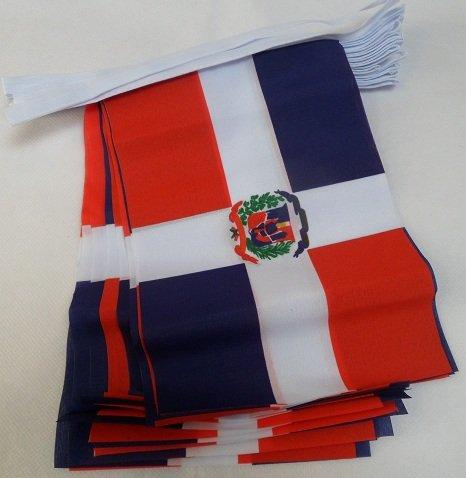 Foto de AZ FLAG Guirnalda 12 Metros 20 Banderas de la REPÚBLICA Dominicana 45x30cm - Bandera Dominicana 30 x 45 cm - BANDERINES