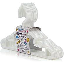 Hangerworld - Perchas Infantiles De Plástico, Con Barra Para Pantalones Y Muescas, Color Blanco, 30 cm, 10 Unidades
