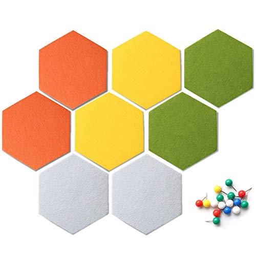 Uoisaiko Self Adhesive Hexagon Filz Anschlagtafel Fliesen für Office Memo Board für Home Hexagon Wandaufkleber Peel und Stick Pin Message Board Set von 8