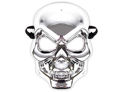 Alsino Totenkopf Maske Metallic Look | Halloween Maske, deckt das ganze Gesicht ab, Farbe: Silber | Böser Blick, schwarzes, elastisches Band