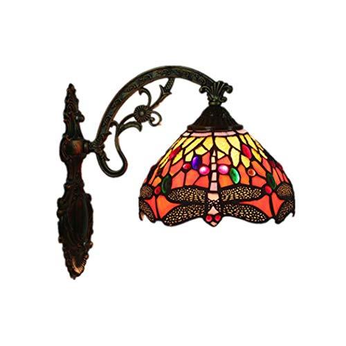 Bronze-feder-wand-beleuchtung (Tiffany-Art-Wandlampe, Kirchen-Buntglas-Libellen-Entwurfs-Wand-Licht, Weinlese-kreative Luxuxwandlampe für Stab-Café-Western-Restaurant yd&h)