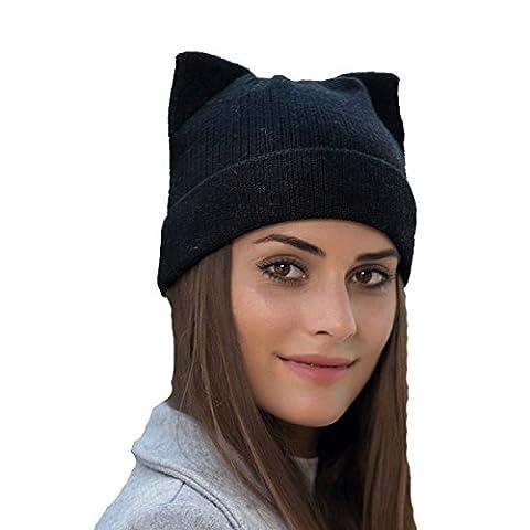Automne Et Hiver Ladies Wool Laine En Tricot épaississant Warm Cat Ears Beanie Hat Slouch Stretch Outdoor Wind Proof Cap,Black-OneSize