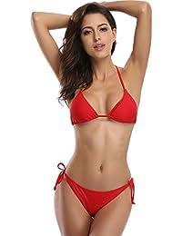 86a2e2acdffc SHEKINI Femme Bandage Deux pièces Maillots de Bain Sexy Brésilien Triangle  Bas Bikini Set Push up