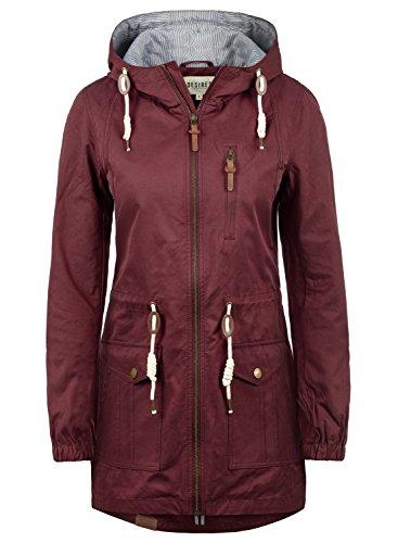 DESIRES Inata Damen Übergangsmantel Parka Jacke mit Kapuze, Größe:S, Farbe:Wine Red (0985) (Mantel Damen Wintermantel)