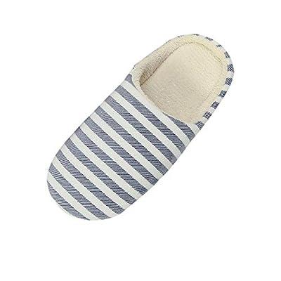 Holeider Schuhe Hausschuhe Herren Damen Winter, aus Memory-Baumwolle Wärme Rutschfeste Gestreift Haus Slippers, Drinnen Pantoffeln im Herbst und Winter