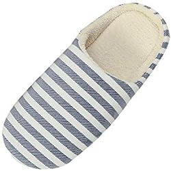ZODOF Zapatos para niños Zapatilla de Rayas Caliente de los Hombres de Las Mujeres en el Interior Zapatos de casa Antideslizantes del Invierno