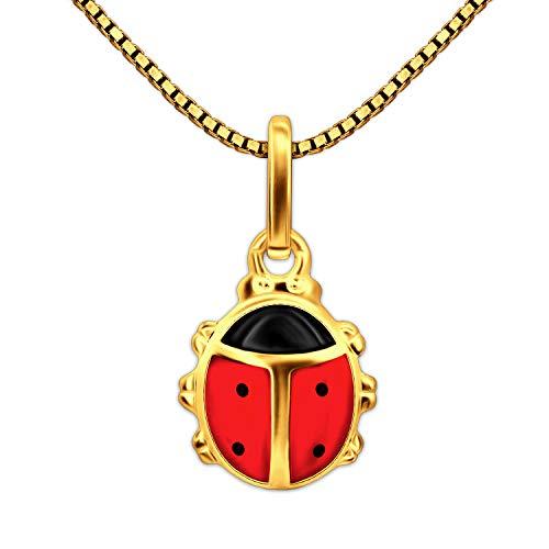 oldener Kinder Anhänger Mini Marienkäfer 8 mm rot und schwarz lackiert glänzend 333 GOLD 8 KARAT und Kette Venezia 40 cm vergoldet im Etui ()