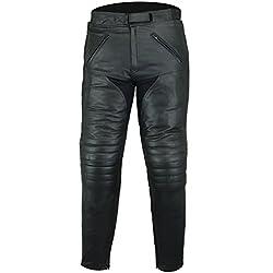 Bikers Gear UK Pantalón de moto Sturgis de cuero alta calidad reforzado certificado CE Negro 48 REG