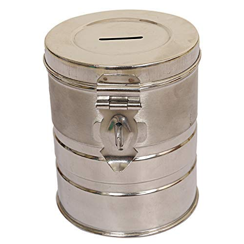 Kuber Industries Stainless Steel Exclusive Coin/Money Bank Container, Silver (CTKSIS482)