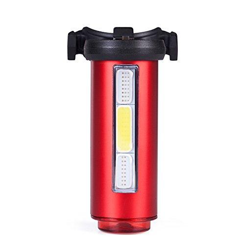 Agapo Fahrrad Rücklicht USB Wiederaufladbare Fahradbeleuchtung 3 COB und 1 LED 100lm 7 Licht-Modi Spritzwassergeschützt Rot (Lichter Blinkende Fahrrad)