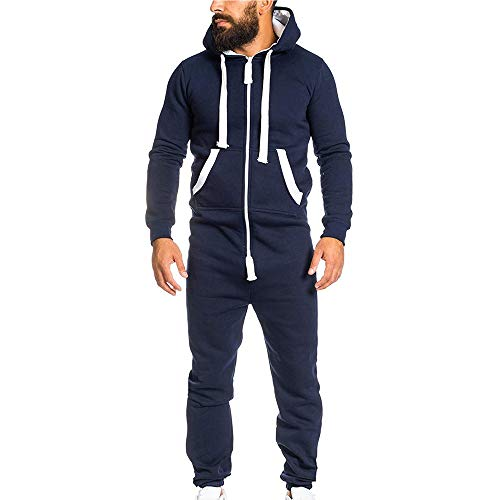 FRAUIT Kapuzenpullover Herren Unisex Overall Jumpsuit Einteiliges Kleidungsstück Non Footed Pyjama Playsuit Bluse Hoodie Sweatshirt (Hooded Footed Mens Pyjamas)