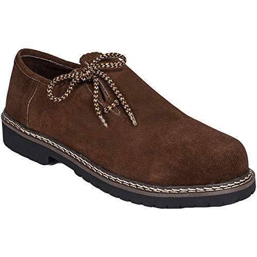 Gesteiner Leather Haferlschuhe Trachten Lederschuhe Schuhe aus Wildleder Trachtenschuhe Braun mit seitl. Schnürung in Versch. Größen und Farben (43, Dunkelbraun)