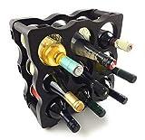 Botellero Weinregal - modular erweiterbares Flaschenregal aus hochwertigem Kunststoff (dunkelbraun) - Weinständer stapelbar - Weinflaschenhalter Weinhalter Flaschenständer (1er Packung für 9 Flaschen)