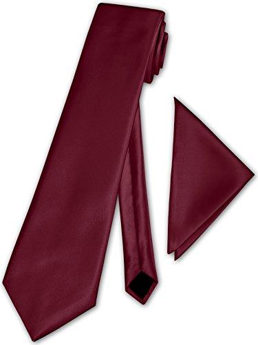 PABLO CASSINI (Fliegen) Herren Krawatte klassisch + Einstecktuch + Geschenkkarton - 40 Farben zur Auswahl (Rose Rot)