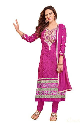 Khushali Women Cotton Embroidered Unstitched Salwar Suit Dress Materials(Rani)