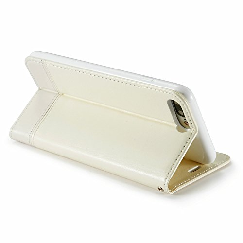 iPhone 8 Hülle, Fraelc iPhone 7 Lederhülle Tasche Schlank Magnet im Bookstyle Klapphülle Geldbörsen-Stil Schutzhülle mit Kartenfach und Standfunktion Handyhülle für Apple iPhone 7 / iPhone 8 (Dunkelbl Weiß