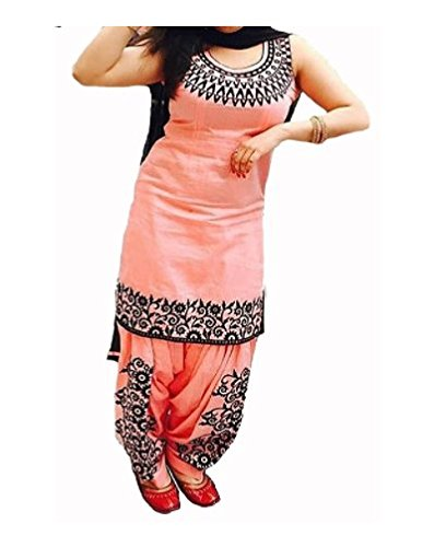 HMP Fashion Peach Cotton New collection Designer partywear Dress Material for Women