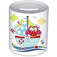 Spardose, mit Namen, Eule, Boot, für Kinder, Geschenk, Kinderspardose, Geschenk Geburt, Taufe, Sparschwein, Geldgeschenke,