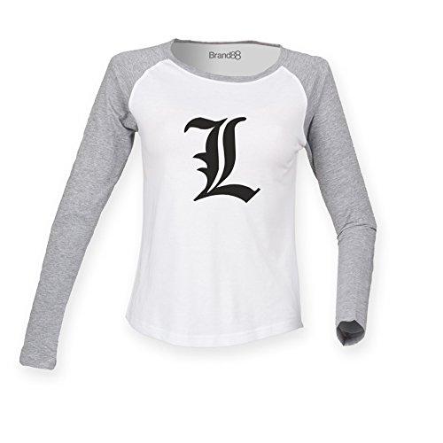Brand88 - Death Note L, Manga, Detective, L Change the World Inspired, Damen Langarm Baseball T-Shirt Weiss & Grau