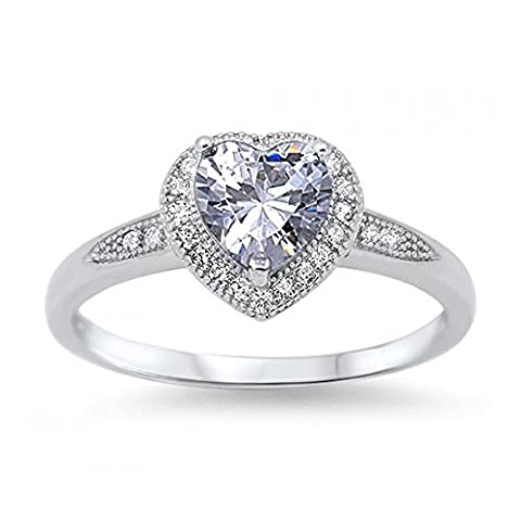 925 Sterling Silver Heart Shaped Cubic Zirconia Ring (H)